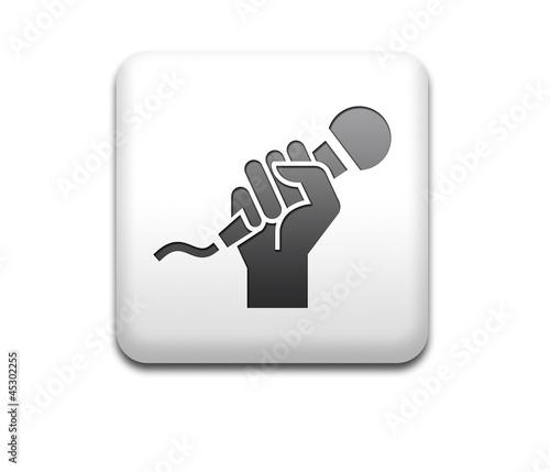 Boton cuadrado blanco simbolo karaoke
