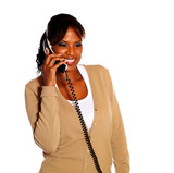 Adult woman speaking on phone poster