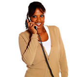 Adult black woman speaking on phone poster