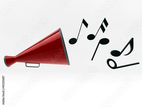 megaphone with notes isolated on white_2 background