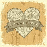 Grunge heart with ribbon. Vintage background, vector.