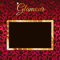 Glamour vector frame with leopard pattern