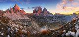 Sunset mountain panorama in Italy Dolomites - Tre Cime