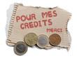 carton de mendiant payer des crédits monnaies