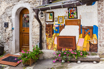 Cibiana, the village of murals, Alps, Italy