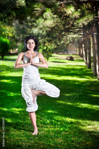 Yoga tree pose in park