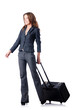 Businesswoman with suitcase on white