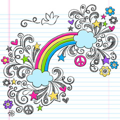 Rainbow, Dove, and Peace Sign Sketchy Notebook Doodles Vector