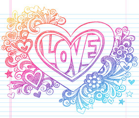 Love Heart Valentine's Day Sketchy Notebook Doodles Vector