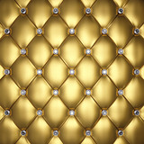 Fototapety Golden leather upholstery with diamond buttons