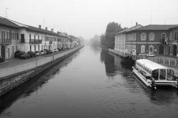 Naviglio Pavese Boffalora B&W image