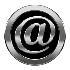 email symbol silver, isolated on white background