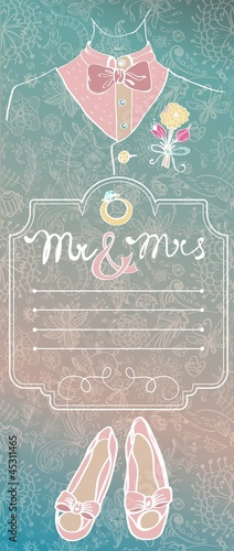 Wedding card with glamorous doodles