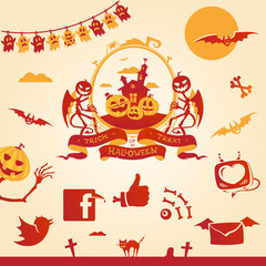 Halloween theme. Vector elements and social icons.