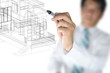 Hand of Business Man or Architect Draw 3D architectural home pla