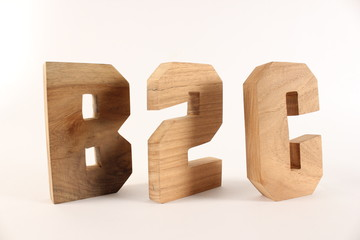 B2C text animation with wood letter version 2