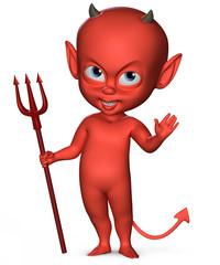 Spiteful devil boy with a trident