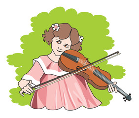 Girl playing the violin, illustration