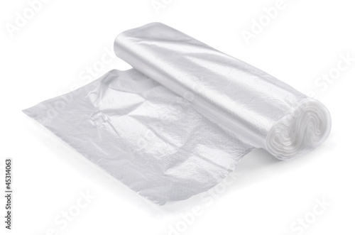 Roll of transparent packaging plastic bags
