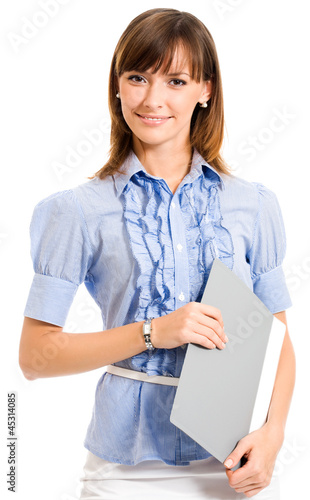 Cheerful businesswoman with folder, over white