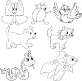 Fototapety Vector set of outlined cartoon animals. Coloring book.
