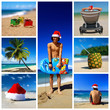 Santa on tropical beach collage