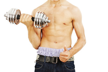 Powerful muscular man lifting weights on white background