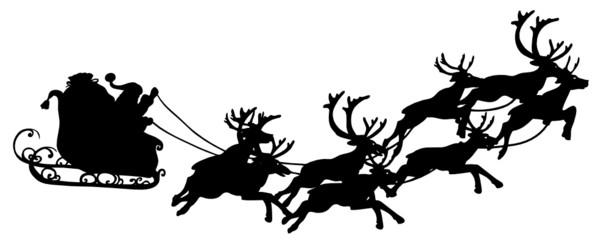 Weihnachtsmann im Rentierschlitten