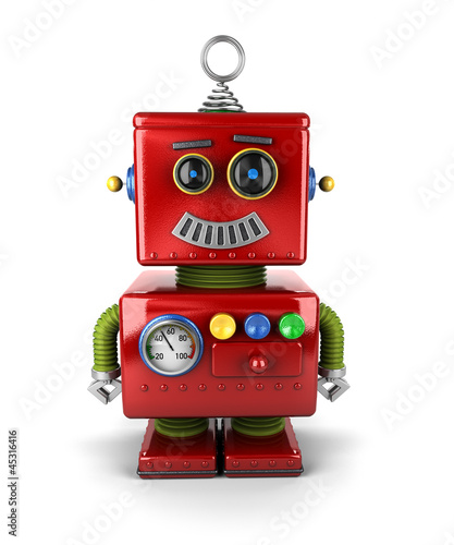 Little robot smiling over white background