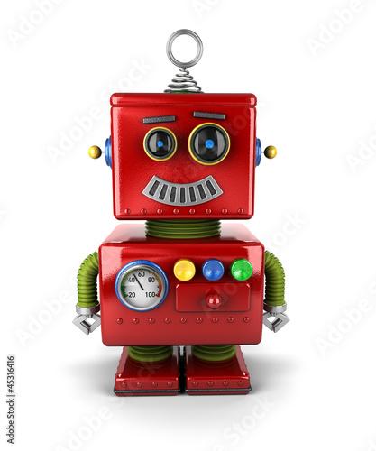 Little robot smiling over white background