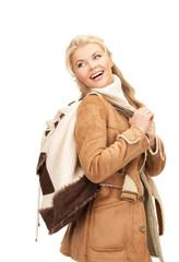 woman in sheepskin jacket