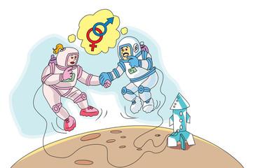 Astronauts in Love, illustration