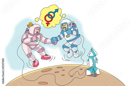 Astronauts in Love, illustration