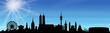 München Skyline blauer Himmel