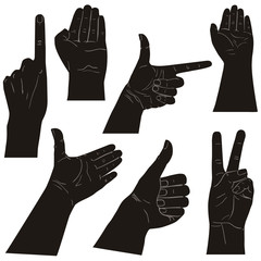 Collection of hands on diferent positions