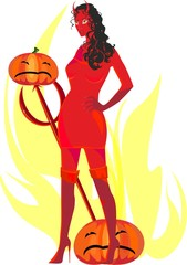 Devil woman with pumpkins and trident