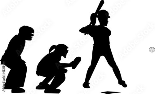 female baseball players in silhouette