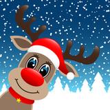 Rudolph Hat Winter Forest Snowfall Blue Diagonal