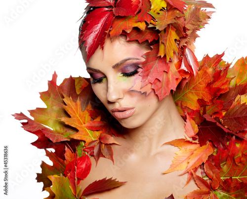 Autumn Woman. Beautiful creative makeup