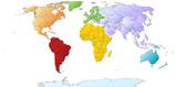 Weltkarte mit farbigen Kontinenten
