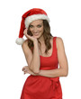 attractive santa woman wishing merry christmas