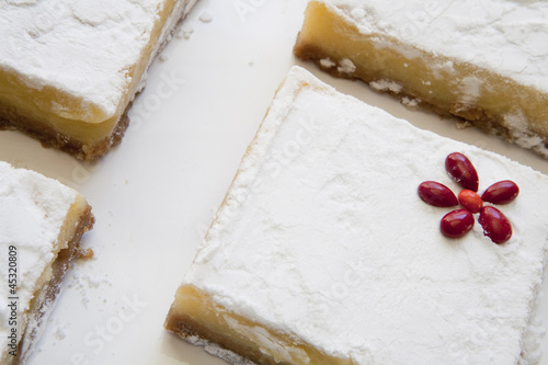 Angled Lemon Bars with Red Flower Accent on Tray