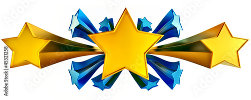 set of eleven shiny gold and blue stars