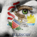 Flag painted on face with green eye to show Illinois support