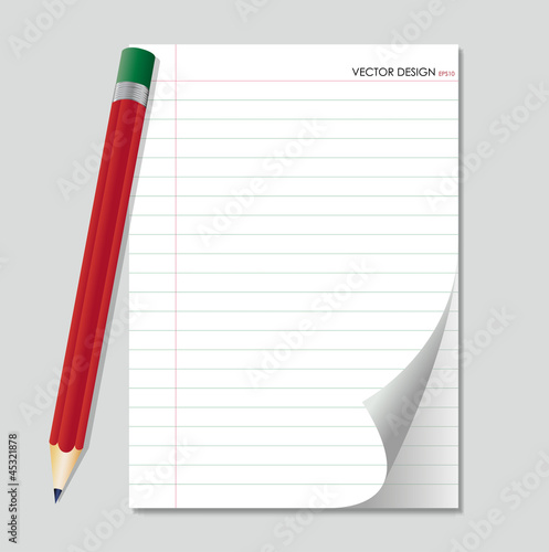 Pencil and white paper, ready for your message. Vector illustrat