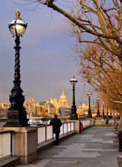 Sunset on St Paul Cathedral from Southbank, London
