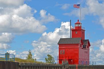 Big Red Lighthouse on Lake Michigan