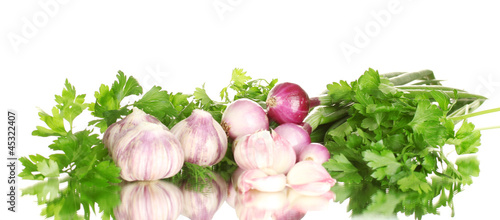 young garlic peeled and onion with greenery isolated on white