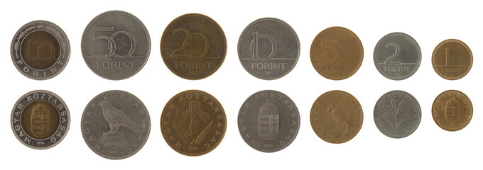 Hungarian Coins Isolated on White