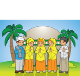 Indonesian Kids muslim eid mubarak celebration day